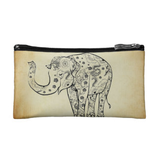 Patterned Elephant Makeup Bags