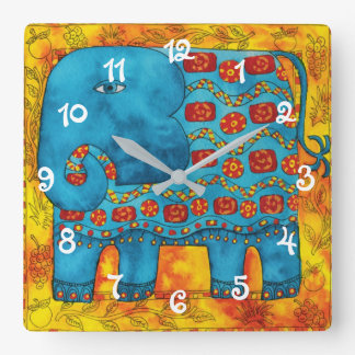 Patterned Elephant Square Wall Clock
