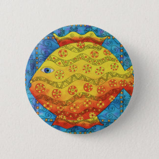Patterned Fish 6 Cm Round Badge