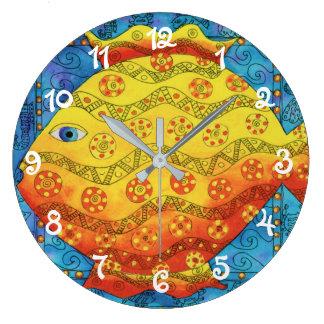 Patterned Fish Large Clock