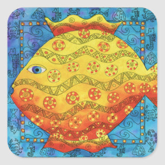 Patterned Fish Square Sticker