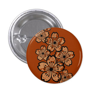 Patterned Flowers 3 Cm Round Badge