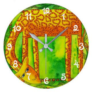 Patterned Giraffe Large Clock
