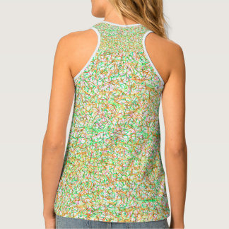 patterned, gold, pink, bright green, tank tank top