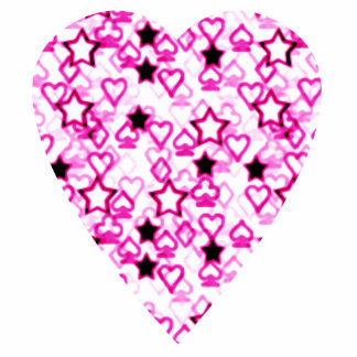 Patterned Heart Design in Pink, Black and White. Photo Sculpture Magnet