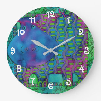 Patterned Hippo Large Clock