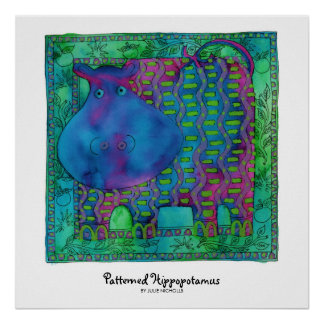 Patterned Hippopotamus Poster