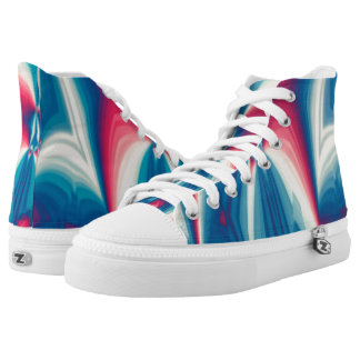 Patterned in Red White Blue Hi Top Printed Shoes