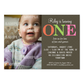 "Patterned One Birthday Party Invitation 4.5"" X 6.25"" Invitation Card"