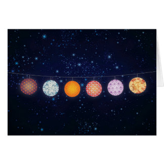 Patterned Paper Lanterns and Starry Sky Greeting Card