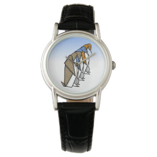 Patterned Paper Origami Penguins Wrist Watch