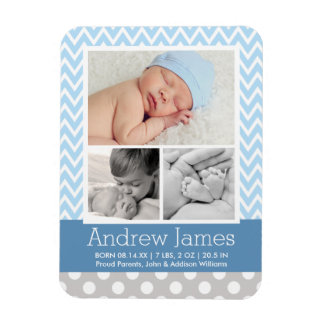 Patterned Photo Birth Announcement   Baby Boy Magnet