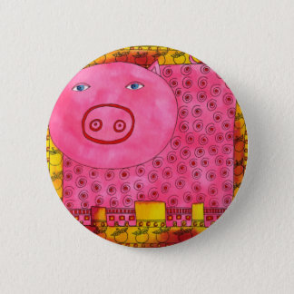Patterned Pig 6 Cm Round Badge