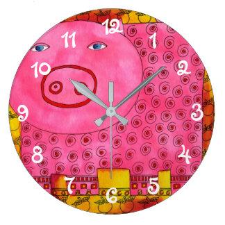 Patterned Pig Large Clock
