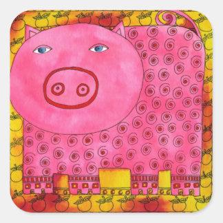 Patterned Pig Square Sticker