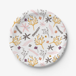 Patterned plants paper plate