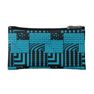 Patterned Rectangles Cosmetic Bag
