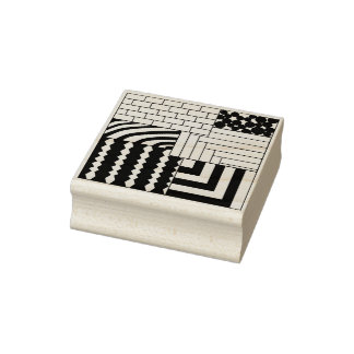 Patterned Rectangles Rubber Stamp