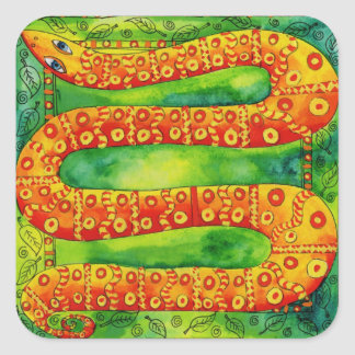 Patterned Snake Square Sticker