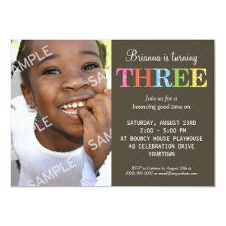 Patterned Three Birthday Party 11 Cm X 16 Cm Invitation Card