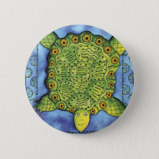 Patterned Turtle 6 Cm Round Badge