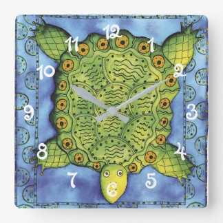 Patterned Turtle Square Wall Clock