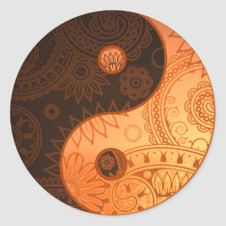 Patterned Yin Yang Gold Classic Round Sticker