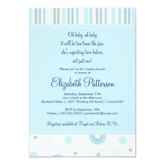 Patterns of Fun Twin Boy Baby Shower Invitation