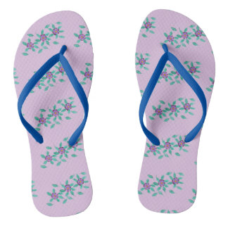 Patterns of three Purple Flowers Floral FlipFlops Thongs