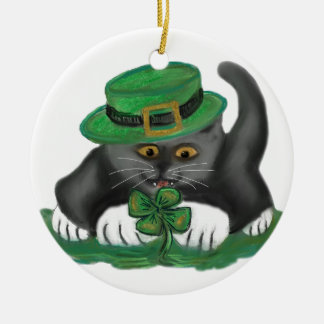 Patty, the Grey Kitten, Loves Four Leaf Clovers Ceramic Ornament
