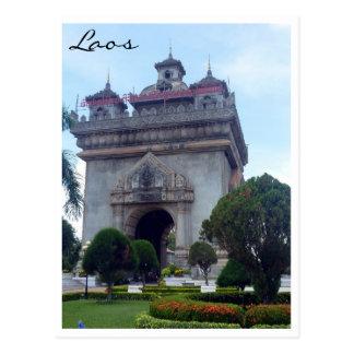 patuxai vientiane laos postcard