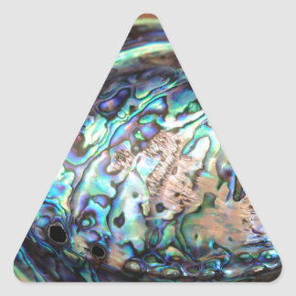 Paua abalone blue and green shellfish detail triangle sticker
