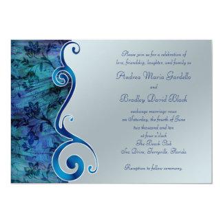 Paua Blue Silver Floral Scroll Wedding Invitation