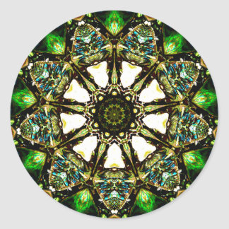Paua Shell has Lovely Iridescent Flashes Fractal Classic Round Sticker