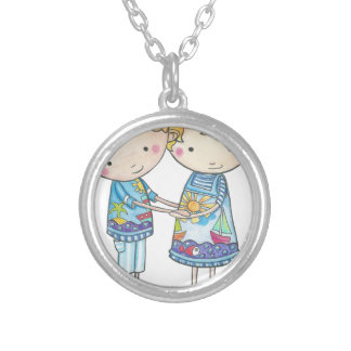Paul and Gabi twins Silver Plated Necklace