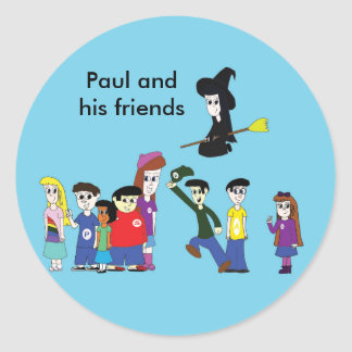 Paul and his friends classic round sticker