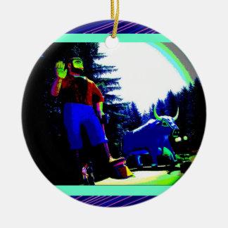 Paul Bunyan and Ox Photo digitally enhanced Round Ceramic Decoration