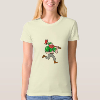 Paul Bunyan Lumberjack Axe Running Cartoon T-Shirt