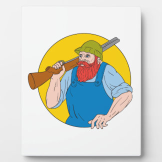 Paul Bunyan the Hunter Circle Drawing Plaque