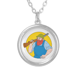 Paul Bunyan the Hunter Circle Drawing Silver Plated Necklace