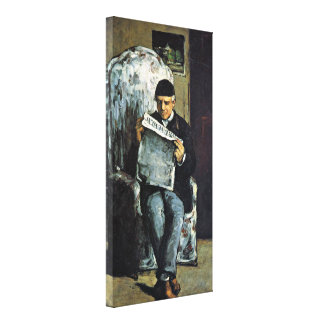 Paul Cezanne - Father of the artist reading Stretched Canvas Print