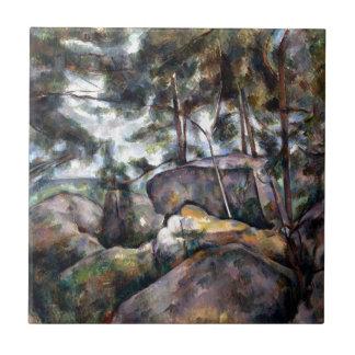 Paul Cezanne Rocks in the Forest Ceramic Tile