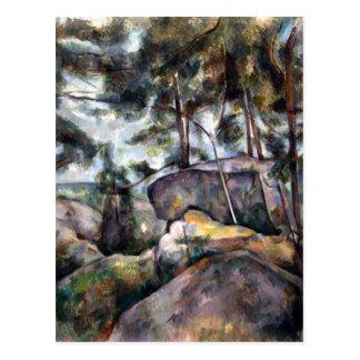 Paul Cezanne Rocks in the Forest Postcard