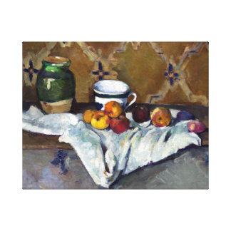 Paul Cezanne Still Life with Jar, Cup, and Apples Canvas Print