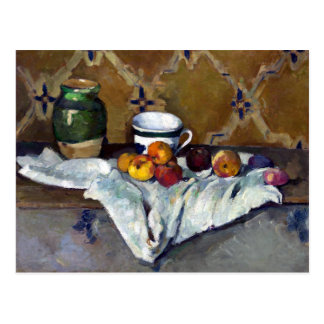 Paul Cezanne Still Life with Jar, Cup, and Apples Postcard