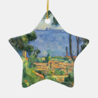 Paul Cezanne - View of L'Estaque and Chateaux d'If Ceramic Star Decoration