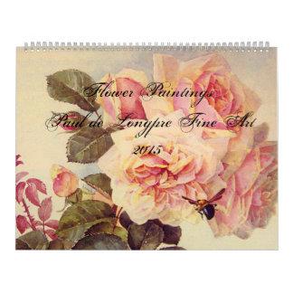 Paul de Longpre Fine Art Flowers Wall Calendars