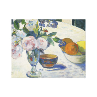 Paul Gauguin - Flowers and a Bowl of Fruit Canvas Print