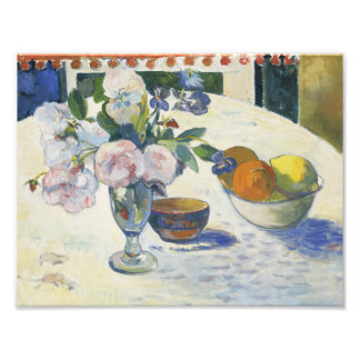 Paul Gauguin - Flowers and a Bowl of Fruit Photographic Print