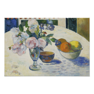 Paul Gauguin - Flowers and a Bowl of Fruit Poster